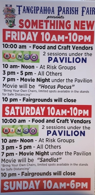 2020 Tangipahoa Parish Fair daily schedule for Friday October 2d through Sunday October 4th