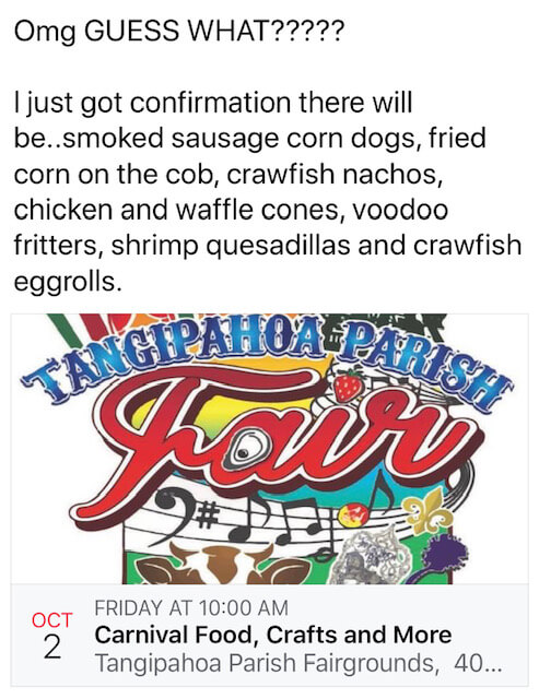 Confirmation of food that will be featured at Tangi Fair starting October 2, 2020